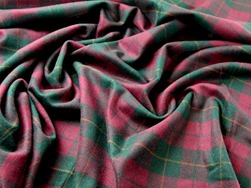 Italian Wool & Cashmere Blend Coat Weight Check Dress Fabric Wine - per (Italian Cashmere Fabric)
