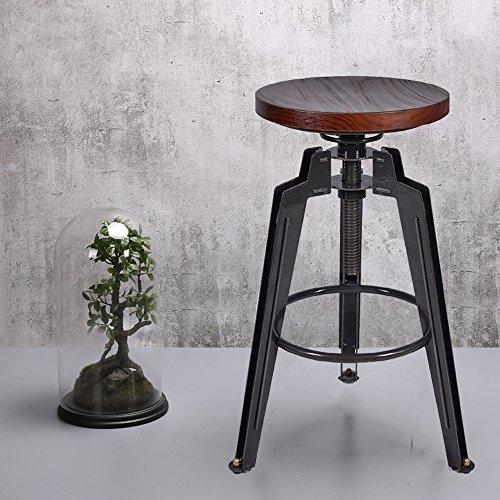 Industrial Height Adjustable Swivel Bar Stool Kitchen Metal&Pine Wood Chair - Pine Wood Bar Stool