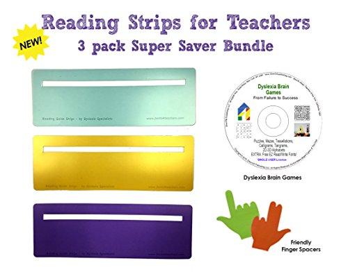 Students Visual Guide - Reading Strips for Teachers, Students & Kids + Dyslexia Brain Games CD + Finger Spacers | Cut-Out Window Reading Guide | 3 PACK | Colored Reading Strips with Overlays