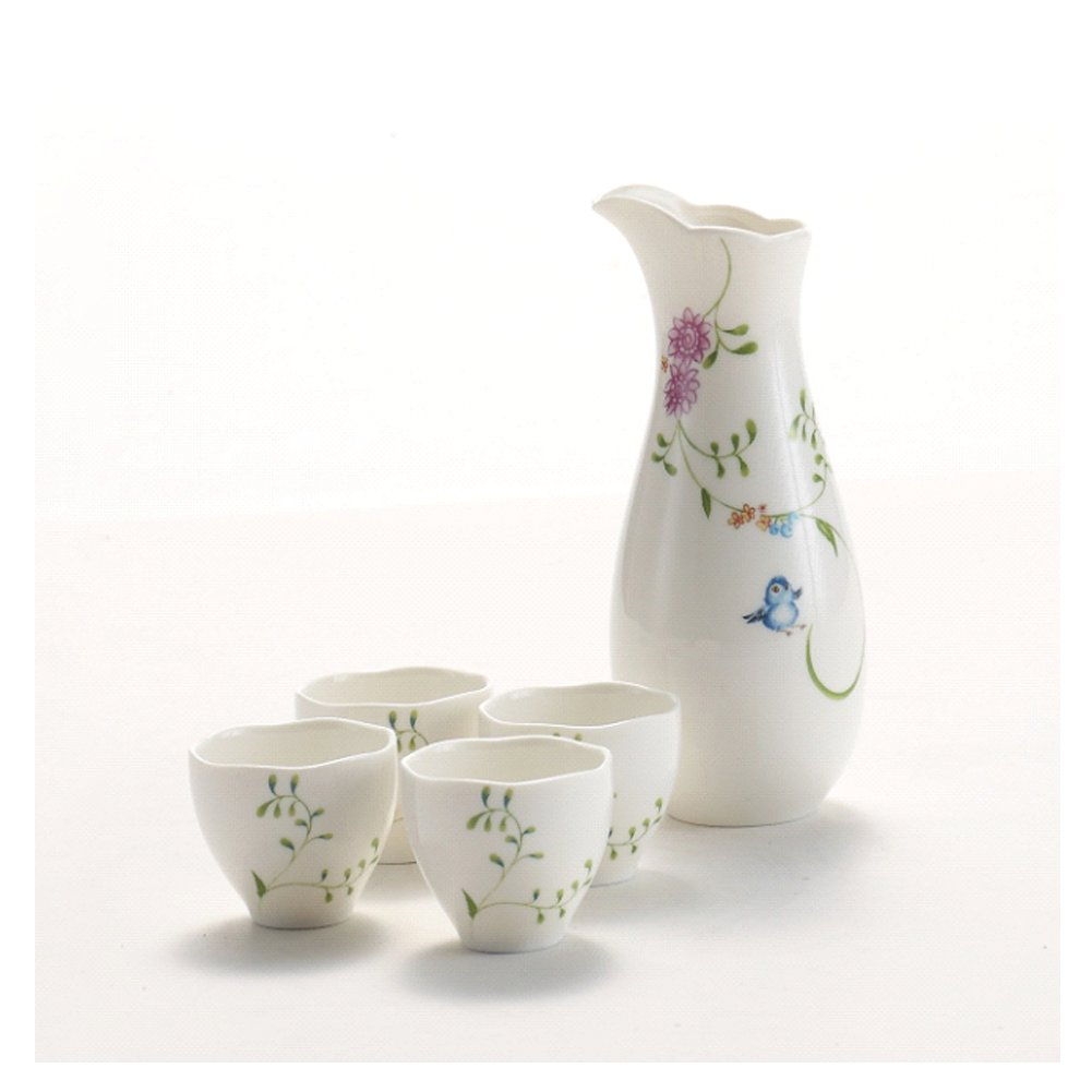 Hotoco 5 Piece Ceramic White Traditional Japanese Sake Set with Flower Design
