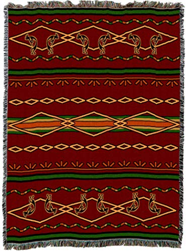 (Pure Country Weavers | Kokopelli Russet and Green Woven Blanket | Tapestry Throw with Fringe Cotton USA 72x54)