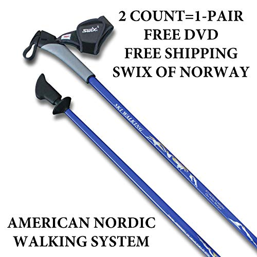 Trekking Poles Telescoping - Real Nordic Walking Poles From SWIX Of Norway. 32 Lengths. Ideal For Fitness, Hiking, Trekking, Physical Therapy. Free DVD. Safer, Lighter, More Durable Than Flimsy Collapsible Poles From China.