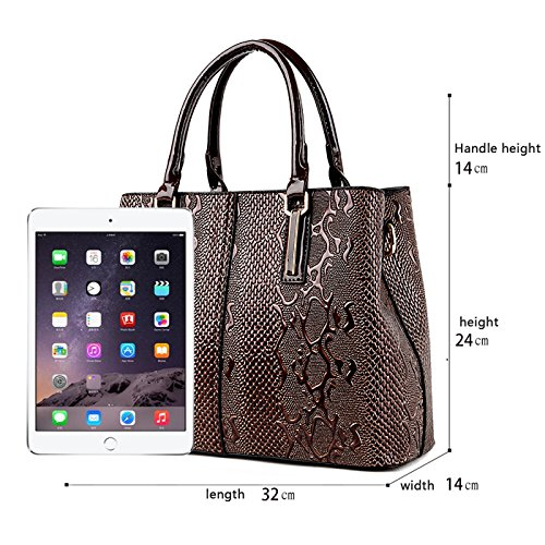 Bag Handbags Sets Messenger Women's Wallet Pattern Handbag of Two Fashion Brown Crocodile Shoulder Tisdaini Son qSxfwB