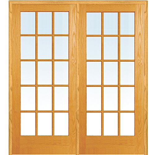 y ZA19958L Unfinished Pine Wood 15 Lite True Divided Clear Glass, Left Hand Prehung Interior Double Door, 60