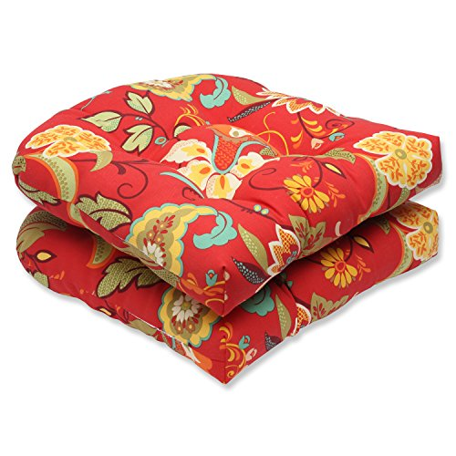 Pillow Perfect Outdoor Tamariu Alfresco Valencia Wicker Seat Cushion, Red, Set of 2 -