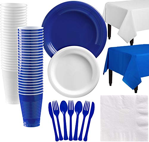 (Party City Royal Blue and White Plastic Tableware Kit for 50 Guests, 537 Pieces, Includes Plates, Napkins, and)