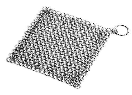 LauKingdom Cast Iron Cleaner - 8x6 Inch Stainless Steel 316 Cleaning Brush Chainmail Scrubber for Cast Iron Pan