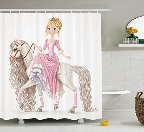 Ambesonne Teen Girls Decor Shower Curtain Set, Pretty Smiling Princess On A White Horse With A Long Mane Happiness Theme, Bathroom Accessories, 69W X 70L Inches, Cream Pink