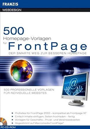 500 Homepage-Vorlagen für FrontPage. CD-ROM für Windows. Der smarte ...