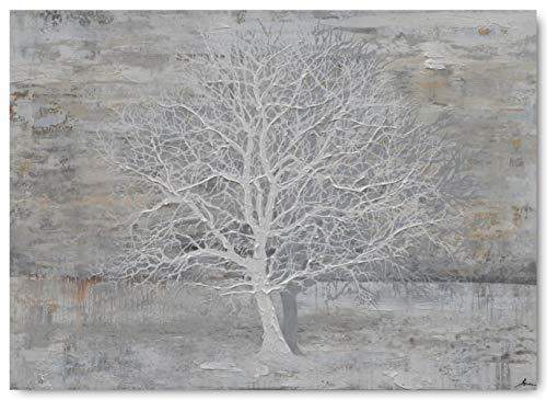 Yihui Arts Abstract Trees Painting Canvas Prints Wall Art Decor Framed - Large Modern Giclee Art Print on Canvas Ready to Hang for Home and Office Wall Decoration with Textured Boho (Gray, 28Wx40L)