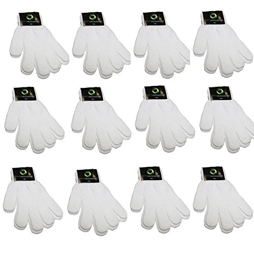 Children Warm Magic Gloves Teens Winter Gloves Boys Girls Knit Gloves(7 to 16 years old) (White),OS,pack of (White Knit Glove)