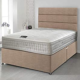 Happy Beds Divan Bed Set Bamboo Pocket Memory Foam Pocket Sprung Mattress with 2 Drawers and Headboard