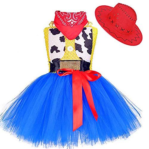 MOCUER Cowgirl Costume for Girls with Bandana and Cowboy Hat Halloween Birthday Party Cowboy Tutu Dress Outfits Size -