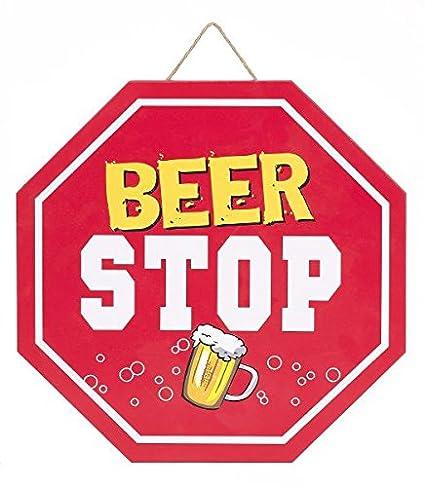 Amazon.com: Funny Man Cave cerveza y señal de stop Bar Wall ...