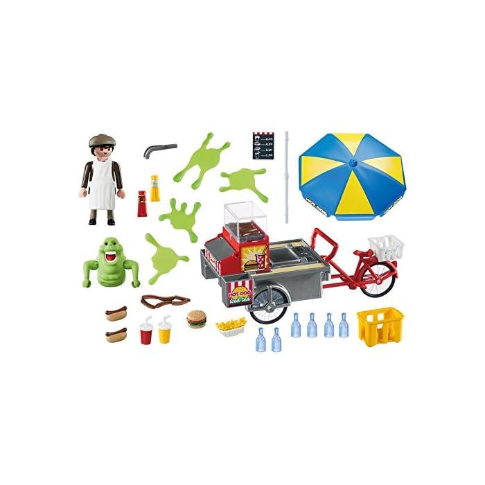 51MHJteFC2L Diversión para pequeños cazafantasmas: PLAYMOBIL Slimer con Stand de Hot Dog, vendedor y muchos accesorios con gran lujo de detalles Slimer con brazos móviles y muñecas rotatorias para poder coger accesorios de PLAYMOBIL, babas de silicona, puesto de perritos calientes con vendedor, bicicleta y mucho más Juego de figuras para niños a partir de 6 años: óptimo para el tamaño de sus manos y bordes redondeados agradables al tacto
