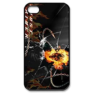 superhero fil Ghost Rider Personalized iPhone 4,4S Hard Plastic Shell Case Cover White&Black(HD image)