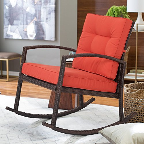 Diensday All-weather Wicker Dark Brown Rocking Chair with Red Orange Cushion, Patio Outdoor Indoor Porch Furniture, Morden New