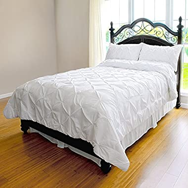 Pinch Pleat Duvet Cover - 3-Piece Microfiber Set by ExceptionalSheets, King/Cal-King, White