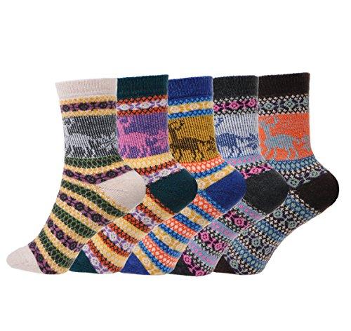 Fun Sock Yarn (5 Pairs Womens Girls Wool Kintting Crochet Socks, Vintage Soft Warm Thick Winter Spring Socks, Snow Elk)