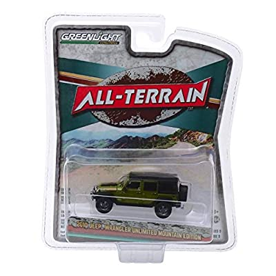 Greenlight 35150-E All-Terrain Series 9-2010 Jeep Wrangler Unlimited Mountain Edition - Rescue Green 1/64 Scale: Toys & Games
