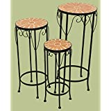 E64014 Metal Plant Stand Set of 3 with Mosaic Top
