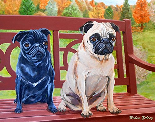 Pug Art, Print of original oil painting of black and fawn pugs in the park, signed by Artist, 8