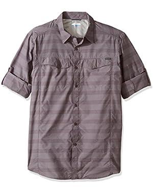 Men's Big-Tall Silver Ridge Plaid Long Sleeve Shirt, Purple Sage Stripe, Large
