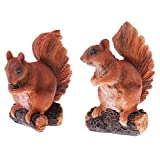 Flameer 1 Pair Resin Squirrel Miniature Sculpture Figurine for Office Garden Yard Lawn Decorative Accessory Ornament