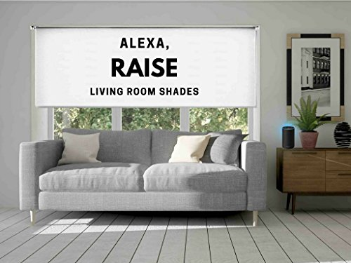 Link Shades Wifi Controlled Smart Blackout Shade. Works with Amazon Echo, IFTTT, and Iphone Android Web App. 12v DC Plug In. (72″ W x 72″ L, Blackout White)