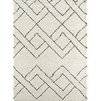 Momeni Rugs MAYA0MAY-6IVY2030 Maya Collection, Ultra Thick Pile Shag Area Rug, 2 x 3, Ivory