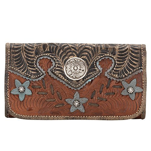 (American West Women's Aw Desert Wildflower Tri-Fold Wallet Brown One Size )