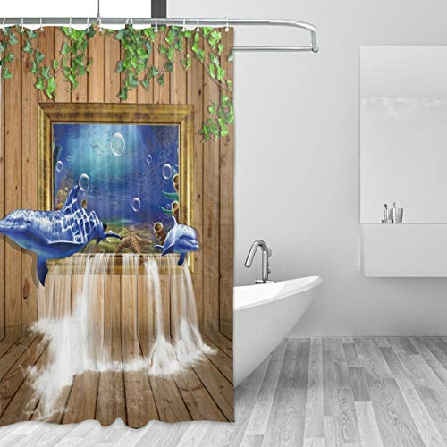 Waterfall Dolphin (Shower Curtain Custom Fabric Set 72x72 inch Dolphin Board Window Waterfall Waterproof Polyester Curtain for Bathroom with 12 Plastic Hook Machine Washable)