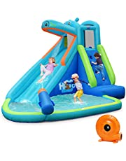 BOUNTECH Inflatable Water Slide, Hippo Themed Bounce House, Bouncer Park w/ Splashing Slide, Climbing Wall, Water Cannon, Including Carry Bag, Stakes, Repair Kit, Hose