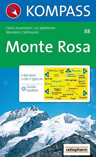 Monte Rosa: Wander- und Skitourenkarte. Carta escursionistica, scialpinistica. 1:50.000