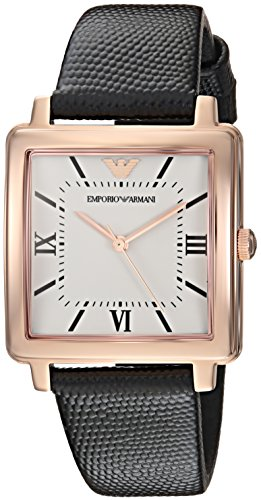 Emporio Armani Women's 'Dress' Quartz Stainless Steel and Leather Casual Watch, Color:Black (Model: AR11067)