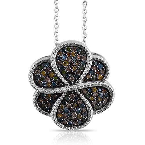 Multi Diamond Flower Pendant Necklace in Platinum Over 925 Sterling Silver 18