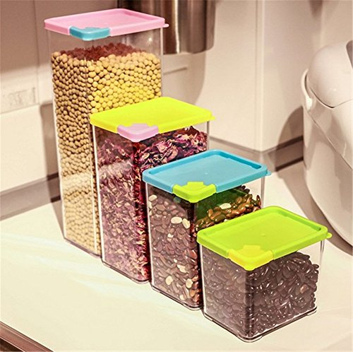 Sealed Crisper (LCYCN Plastic Food Storage Box Sealed Crisper Grains Tank Storage Kitchen Sorting Food Storage Box Container 4Pcs/Set)