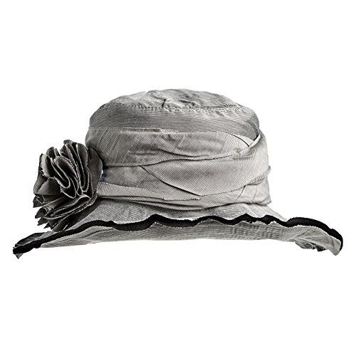 Women's Summer Hat With Bendable Wired Brim - Silver Pinstripe