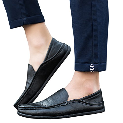 Haodasi Men's Casual Leather Loafers Driving Slip On Moccasins Shoes Slippers Black 2 vzX8U