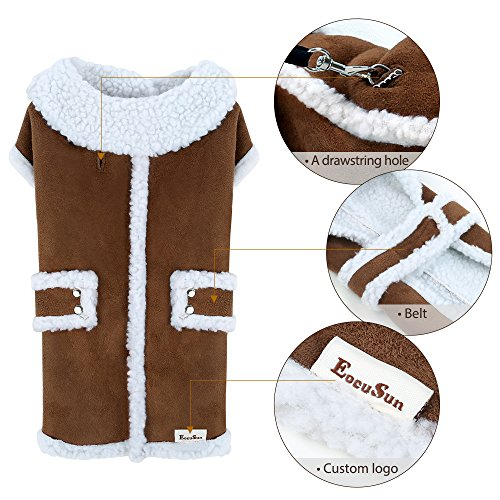 EocuSun Pet Clothes for Dogs Winter Coat Cat Dog Vest Warm Jacket Apparel Shearling Fleece Cold Weather Coats for Medium Large Dogs Cats Puppy with Furry Collar by, Brown L by EocuSun (Image #4)