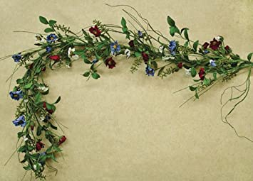 Americana Poppy Garland Red White Blue Patriotic Floral Country Primitive  Garden Décor