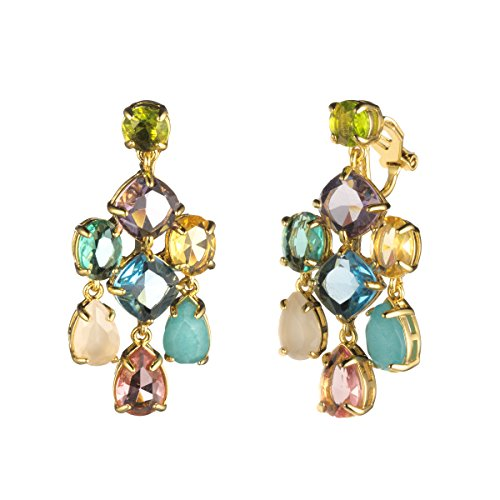 Carolee Drop Earrings - Carolee Malibu Waves Women's Malibu Waves-Ec-Stone Chandelier Clip Earrings, Gold/Multi, One Size