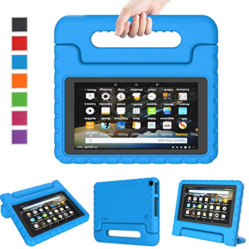 LTROP Case for Amazon Fire 7 Kindle Kids Case 2019 - Light Weight Shock Proof Convertible Handle Stand, Corner Protection, Kids Case for All-New Fire 7 Tablet (9th Generation, 2019 Release) - Blue (Kindle Case For 7 Inch Tablet)