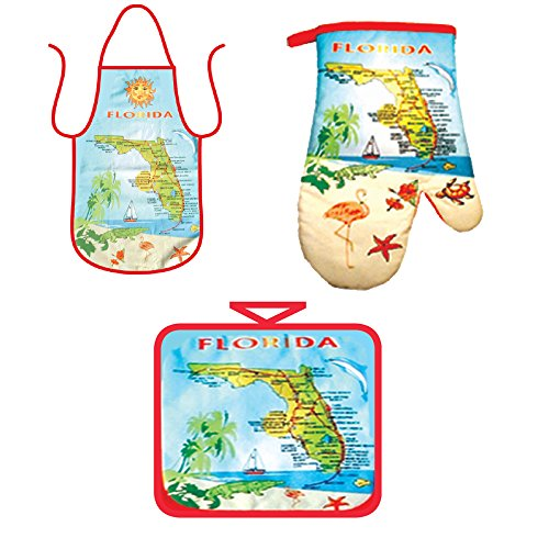 Kitchen Cooking Set - Florida map Souvenir Gift - Apron, Oven Mitt Pot Holder Novelty 3 Piece Combo Set