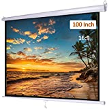 Projector Screen Manual Pull Down 100 inch 16:9 Retractable Projection Widescreen HD for Indoor Home Theater Cinema School Office, Wall/Ceiling Mounted Movie Screen
