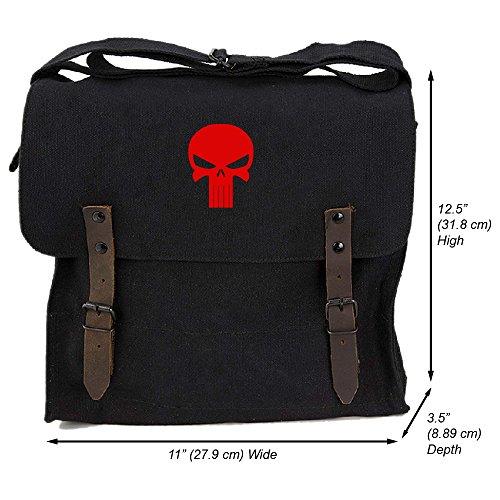 Punisher Skull Heavyweight Canvas Medic Shoulder Bag, Black & Red