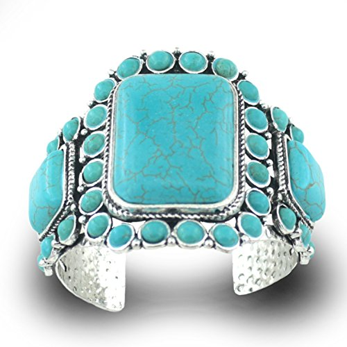 Jianxi Woman Jewelry Fashion Bohemia Style Synthetic Compressed Turquoise Bracelet Antique Plated Base Vintage Silver Adjust Bangle