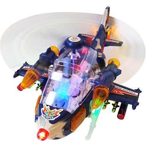 Best Action Toy for Kids Flashing, Blinking with Helicopter Sounds Bump and Go Military Air Force Helicopter w/Take Off and Landing Action Turns 360 Degrees with Motion for Ages 3 and Up (Go Helicopter)