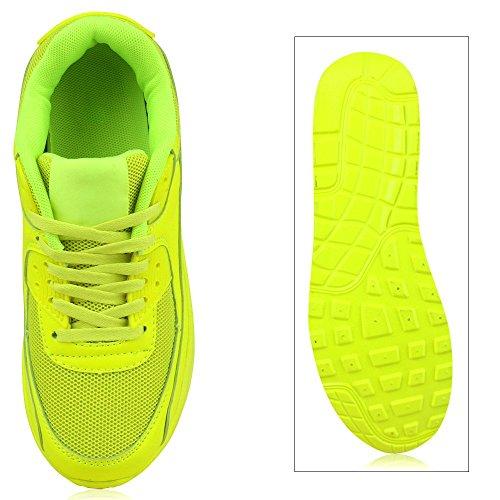 Japado Knallige Damen Herren Unisex Sportschuhe Auffällige Neon-Sneakers Sportlicher Eyecatcher Alltags-Look Angenehmer Tragekomfort Gr. 36-45 Neongelb