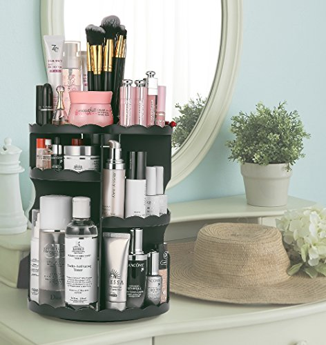Jerrybox Vanity Organizer, 360 Degree Rotation Make Up Organizers and Storage Beauty Carousel Spinning Holder Storage, Large Capacity for Bathroom, Black